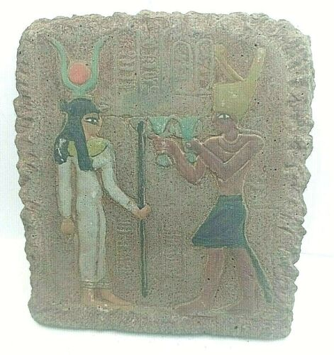 RARE ANCIENT EGYPTIAN ANTIQUE ISIS and RAMSES III Stella In Temple 1865-1653 BC