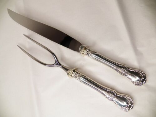 TOWLE OLD MASTER STERLING SILVER HANDLE ROAST CARVING SET NO MONOGRAM