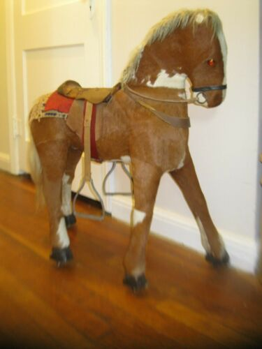 "ANTIQUE REAL HIDE COVERED HORSE TOY 29"" HIGH large primitive"