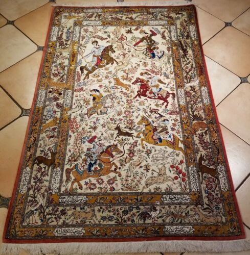 4.4X6.7FT COLLECTIBLE HAND KNOTTED SIGNED FINE HUNTING RUG  100% SILK RUG S14