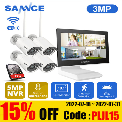 SANNCE 1080P Wireless Security Camera System Outdoor WIFI Home CCTV Surveillance