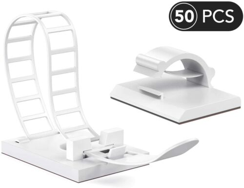 50 Pcs Adhe|sive Cord Organizers, Adjustable 25PCS Cable Clips and 25PCS Cable
