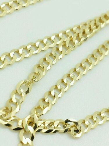 """14K Solid Yellow Gold Cuban Chain Necklace 16"""" 18"""" 20"""" 22"""" 24"""" 26"""" 28"""" 30""""Precious Metal without Stones - 164330"""