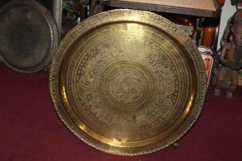 LARGE Chinese Hong Kong Brass Metal Serving Tray Table Top Engraved Dragon Birds