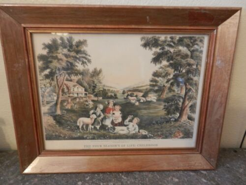 The Four Seasons of Life: Childhood by Currier & Ives Framed Print