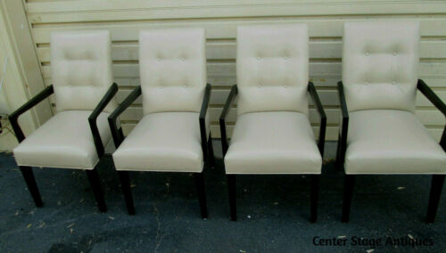 55577 SET OF 4 LEATHER? BERGERE OFFICE DINING CHAIRS ARMCHAIRS