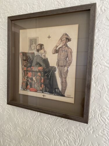 WWI Watercolour Painting Australian Soldier Slouch Hat with Wife by Claire Scott1914 - 1918 (WWI) - 13962