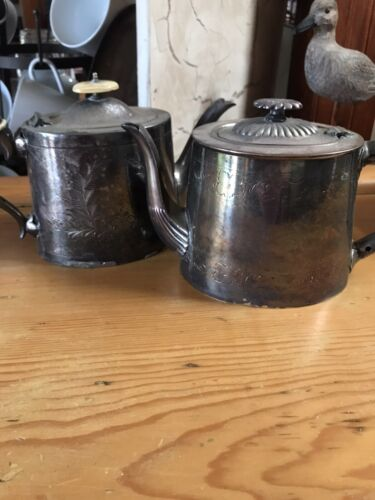 Two Antique Silverplate Large Teapots