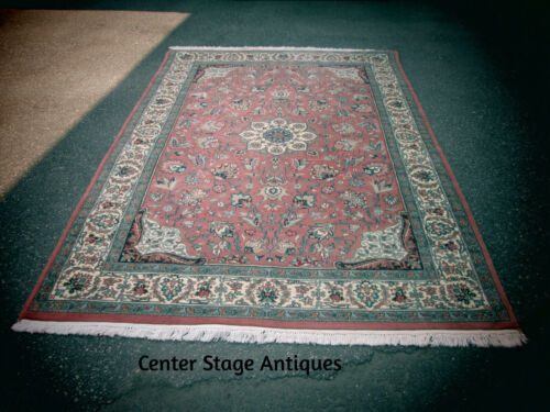 "ML RUG 50 Hand Made Oriental Wool Pink Green Floral Rug Carpet  72"" x 108"""