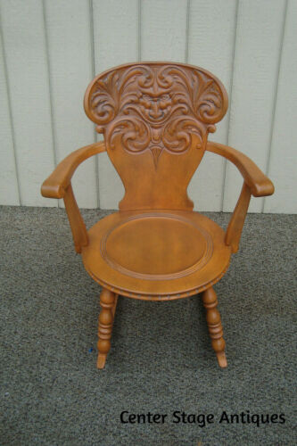 60879 Solid Maple Victorian Rocker Rocking Chair w/ Carved NORTHWIND FACE