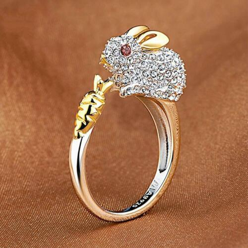 Cute Finger Ring Crystals Bunny Jewelry Animal For Women Rabbit Rings Adjustable