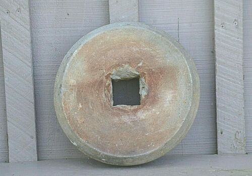 Antique Primitive Grinding Stone Wheel Sharpening Tool Country Farm Rustic Decor