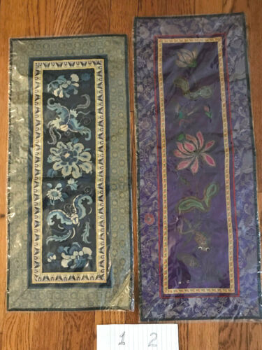 Chinese 19thC Silk Embroidered Panels/2Choices/Forbidden Stitch/Metalic/W.C.Long