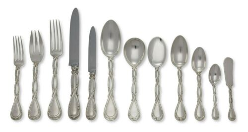 144 piece Puiforcat French .950 Silver Flatware Service for 12 in Royal Pattern