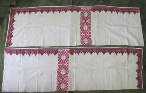19C ANTIQUE SET OF 2 HAND EMBROIDERED WALL CARPETS TAPESTRIES