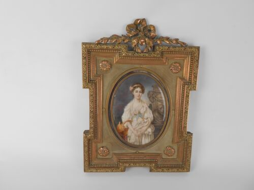 ANTIQUE MINIATURE PAINTING IN SUPERB AND RARE FRAME LATE 18TH CENTURY