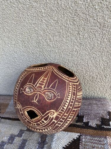 Old Carved Coconut With Incised Decoration - New Guinea