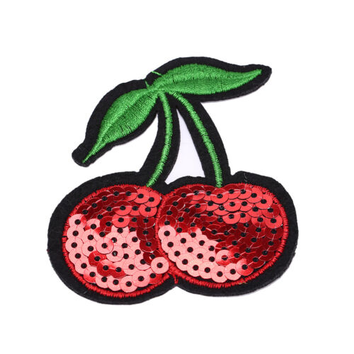 Cherry Embroidery Iron Sew On Patch Applique Diy Clothing Sequins 6.8*7.7cm B.ji