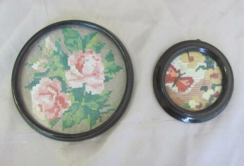 VINTAGE SET OF TWO MINI HAND EMBROIDERED GOBELIN TAPESTRY w/WOODEN FRAMES