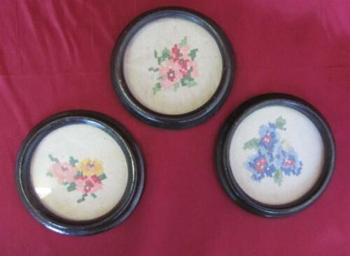 VINTAGE SET OF THREE MINI HAND EMBROIDERED GOBELIN TAPESTRY w/WOODEN FRAMES