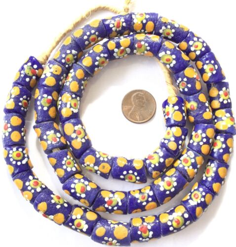 Ghana handmade Blue Floral Multi Recycled glass African trade beads