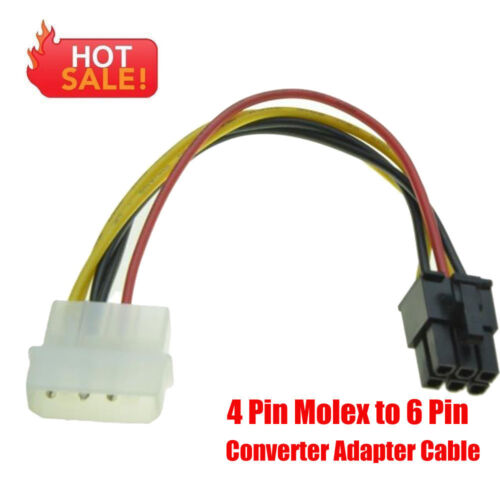 4Pin Molex 6Pin PCI-Express PCIE Video Card Power Converter Adapter Cable