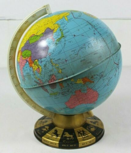 "Vintage Ohio Art Co 9"" Diameter 12"" Tall World Globe Horoscope Zodiac Tin 1962"