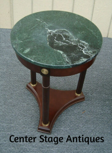 61297  Round Bombay Furniture Marble Top Lamp Table End Table
