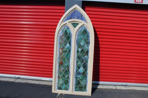 LARGE Antique Stained Glass Window Cathedral Shape Wood Frame Architectural Gard