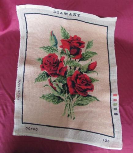 VINTAGE HAND EMBROIDERED TAPESTRY GOBELIN - ROSES