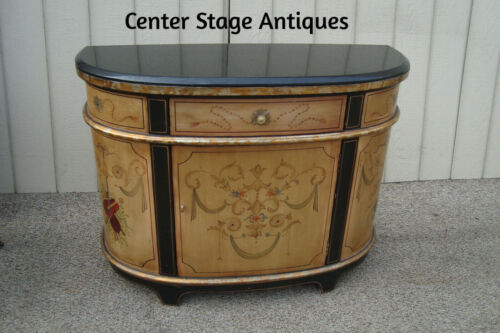 60609 Marble Top Stenciled  Console Table Server Sideboard Cabinet