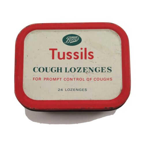 Antique Vintage Old Tin Boots Tussils Cough Lozenges Empty Medical Display Prop