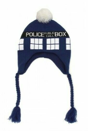 DOCTOR WHO TARDIS BBC Licensed LAPLANDER Style Knitted Pompom Beanie Hat