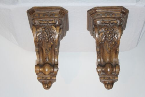 Victorian Style Wall Shelf Bracket Supports Pair Wood Resin Leaves Grapes Corbel