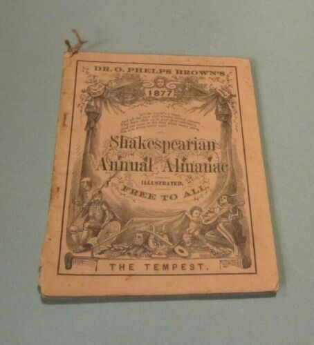 1877 Dr. O. Phelps Brown Shakespearian Annual Almanac The Tempest Illustrated