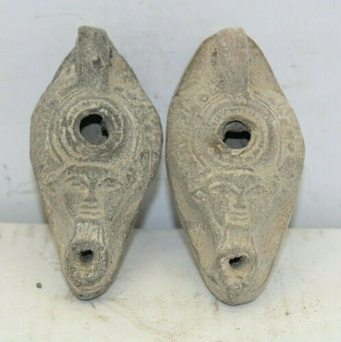 2 RARE ANCIENT EGYPTIAN ANTIQUE Oil Lamp  2532-2356 BC