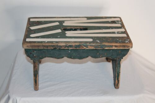 Antique Wood Foot Stool Country Farm House Decor Green Paint Aged Wear