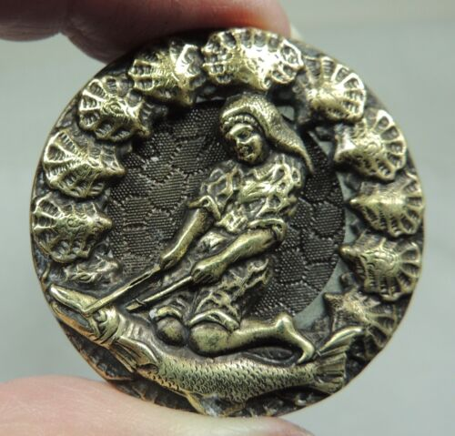 ANTIQUE BRASS PICTURE BUTTON W/ SHELL BORDER ~ TOBIAS RIDING A FISH