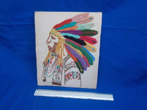 Embroidered picture vintage 1950s Indian native American