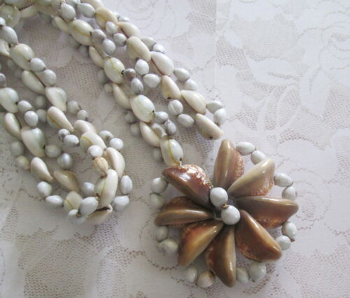 """COWRIE SHELL PENDANT / NECKLACE Vintage 1970's from New Zealand 2 3/4"""" pendant"""