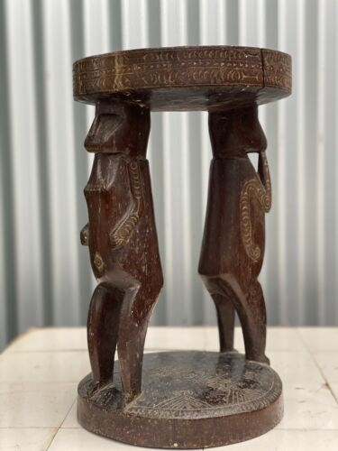 A Good Early New Guinea Massim Trobriand Island Stool with Carved Male & Figures