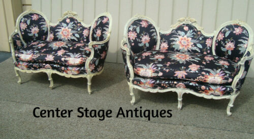 60389 Pair DECORATOR CUSTOM MADE  French Carved Loveseats Sofa w/ BIRD figures