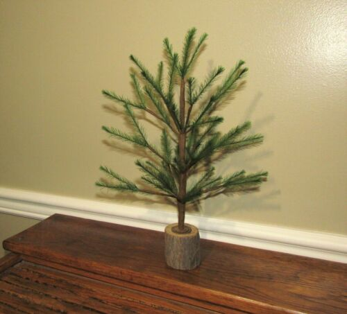 "Primitive Antique Vtg Style 12"" Green Feather Christmas Tree w/ Wood Base"