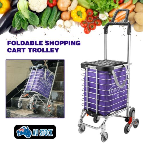 New Foldable Stainless Steel Shopping Trolley Cart Grocery Luggage Basket AU