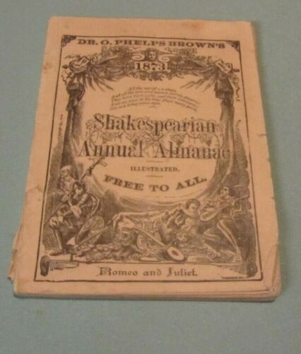 1873 Dr. O. Phelps Brown Shakespearian Annual Almanac Romeo and Juliet 64pg