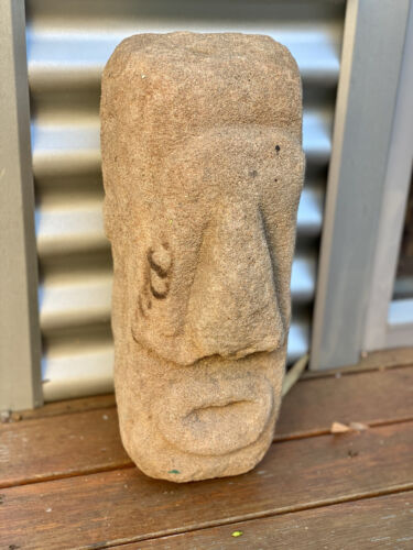 Large Old Pacific Islands carved stone Votive head New Guinea Oceanic tribal art