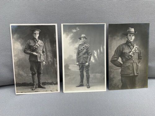 WWI Australian Postcard Photographs 1st AIF Two Brothers? 3x Postcards Named D21914 - 1918 (WWI) - 13962