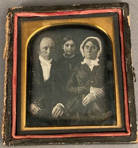 1/6 PLATE DAGUERREOTYPE FAMILY OF 3, HAS WIPE MARKS, OLD RESEALING, HALF CASE