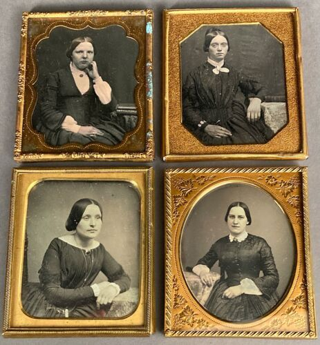 FOUR 1/6 PLATE DAGUERREOTYPES OF WOMEN AGES 20s–30s, AS FOUND, NO CASES