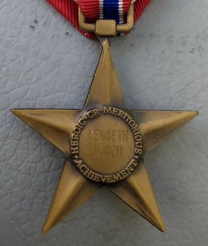"""Named Bronze Star Medal With """"V"""" Device - For Heroism in Combat - IdentifiedOriginal Period Items - 13982"""